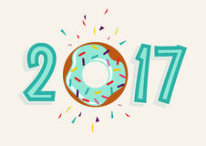 Happy New Year 2017 donut food greeting card. Happy New Year 2017, fun typography design with sweet donut cake element as number. EPS10 vector Royalty Free Stock Photography