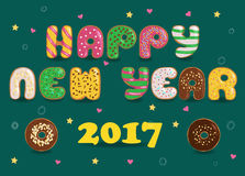 Happy New Year 2017. Donuts font. Colorful sweet letters. Vector illustration. EPS 8 Royalty Free Stock Photos
