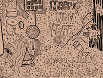 Happy New Year Doodle Stock Photography