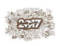Happy new year 2017 Doodle Design Elements Stock Photography