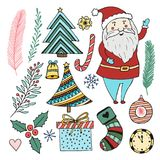 Happy New Year doodle set. Christmas cartoon stickers collection. Cute santa claus, trees, gift and other. Stock Photos