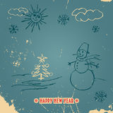 Happy New Year doodle vintage card. Doodle New Year card with a snowman in vintage style with title Stock Image
