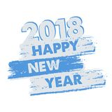 Happy new year 2018 in drawn banner. Happy new year 2018 in drawn blue grey banner, holiday concept Stock Photography
