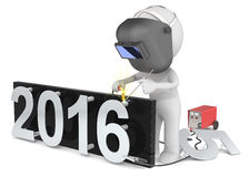 Happy New Year. Dude 3D character The Welder changing number on New Year from 2015 to 2016 Stock Photo