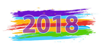 Happy New Year 2018. Dynamic colorful design elements. Vector. Illustration Stock Image