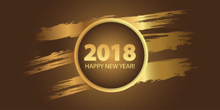 Happy New Year 2018. Dynamic golden design elements. Vector. Illustration Royalty Free Stock Photo