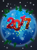 Happy 2017 New Year!. Earth Stock Image
