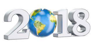 Happy New Year 2018 with Earth Globe concept, 3D rendering Stock Images