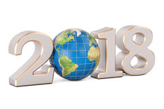 Happy New Year 2018 with Earth globe concept, 3D rendering Stock Photography