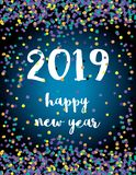 Happy New Year. Elegant Abstract New 2019 Year Vector Card with Colorful Falling Confetti. vector illustration