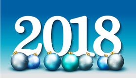 Happy New Year 2018 elegant banner with blue christmas balls. Ve. Ctor illustration Royalty Free Stock Image