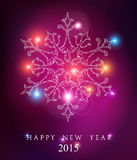 Happy new year 2015 elegant card background. Happy new year 2015 elegant greeting card or poster design with snowflake stars and unfocused lights background Royalty Free Stock Image