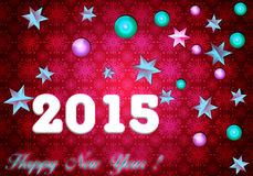 Happy New Year 2015. Elegant crimson card Christmas and New Year.. Pink background with 3D toys Stock Photo