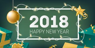 Happy New Year elegant horizontal banner template with frame decorated by light garland, golden bauble, star, ribbons. And holiday gifts on green background Royalty Free Stock Photos