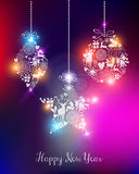 Happy new year 2015 elegant lights card. Happy new year 2015 elegant greeting card or poster design with unfocused lights and baubles. EPS10 file with royalty free illustration