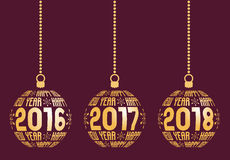 Happy New Year 2016, 2017, 2018 Elements. Happy New Year graphic elements for years 2016, 2017, 2018. Christmas balls with text Happy New Year and years. Hanging Stock Photo