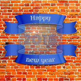 Happy New Year 2016. Emblem, banner, badge pixel-brick wall background, can be used as part of the design of sales, in the printing, on websites stock illustration