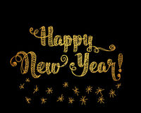 Happy New Year Embroidery Style. Happy New Year Gold Embroidery Style. Vector illustration on black background Royalty Free Stock Photos
