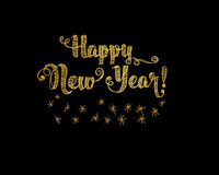 Happy New Year Embroidery Style. Happy New Year Gold Embroidery Style. Vector illustration on black background Stock Photography
