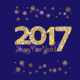 Happy New Year Embroidery Style. 2017 Happy New Year Gold Embroidery Style. Vector illustration on blue background royalty free illustration