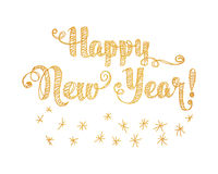 Happy New Year Embroidery Style. Happy New Year Gold Embroidery Style. Vector illustration on white background Royalty Free Stock Images
