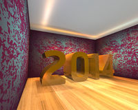 Happy New Year - 2014. In Empty room Royalty Free Stock Image