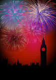 Happy New Year Englsih fireworks. Happy New Year fireworks London with Big Ben Tower silhouette night scene.EPS10 vector with transparencies layered for easy vector illustration