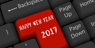 Happy new year 2017 on enter keyboard.  Stock Images