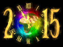 Happy new year 2015 - Europe, Asia and Africa. Illustration of rainbow planet Earth - Europe, Asia and Africa. Cosmic clock and numbers 2015. Happy new year 2015 Royalty Free Stock Photography