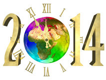 Happy new year 2014 - Europe, Asia and Africa. Illustration of rainbow planet Earth, cosmic clock and numbers 2014. Happy new year 2014. Isolated on white royalty free illustration