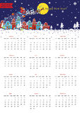 Happy New year 2015 European calendar. Happy New year 2015 celebration calendar. Santa Claus sleigh with reindeer fly over the city and throws gifts on the royalty free illustration