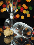 Happy New Year Eve party with champagne glasses and cork Stock Image
