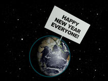 Happy New Year Everyone. Message board on earth with the text words Happy New Year Everyone. 3d render. Elements of this image furnished by NASA Stock Photography