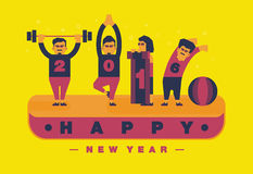 Happy 2016 new year, Exercise and yoga theme.Vector flat illustration. Design Royalty Free Stock Photo