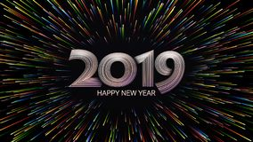 Happy New Year 2019. Christmas. Color fireworks. Abstract composition in the form of sunlight. royalty free illustration
