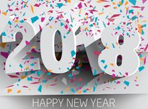 Happy 2018 new year with falling confetti . Vector paper illustr. Ation. eps 10 Royalty Free Stock Photography