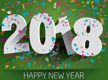 Happy 2018 new year with falling confetti . Vector paper illustr. Ation. eps 10 Stock Photography