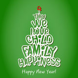 Happy New Year Family Greeting Card. Green. Happy New Year Family Greeting Card. Merry Christmas and happy new year lettering, vector illustration green stock illustration