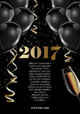 Happy new year 2017 fancy gold champagne and black hot air balloons. Stock Image