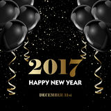 Happy new year 2017 fancy gold champagne and black hot air balloons. Ideal for greeting card or elegant holiday party invitation Royalty Free Stock Photo