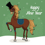 Happy new year. Fashion stallion wearing a hat, 2014 year of the horse vector illustration Stock Images