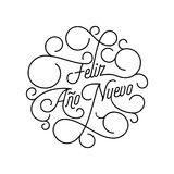 Happy New Year Feliz Ano Nuevo flourish calligraphy lettering of swash line typography for Spanish greeting card design. Vector fe. Stive ornamental New Year Royalty Free Stock Photography