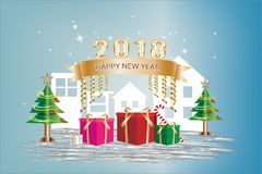 Happy New Year Festival concept. Gift box and ribbon banner gold color with text decoration and Christmas tree on a blue background.  Vector illustration Stock Photo