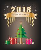 Happy New Year Festival concept. Gift box and ribbon banner gold color with text decoration and Christmas tree on a black background. Vector illustration Stock Photo
