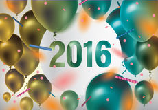 Happy new year 2016. Festive background with colorful balloons and confetti vector illustration