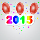 Happy New Year 2015. Festive Christmas 2015 with the premise of air balloons Royalty Free Illustration