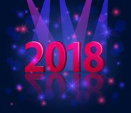 2018 happy new year festive 3d numbers under the spotlight with bokeh. Glowing shiny stars over blue background Stock Images
