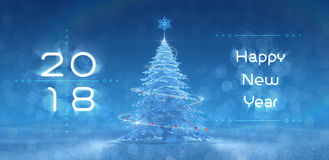 `Happy New Year - 2018`  Festive Design. New Year`s text and graphic composition, created from 3D rendered scene Stock Photos