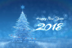 `Happy New Year - 2018`  Festive Design. New Year`s text and graphic composition, created from 3D rendered scene Royalty Free Stock Photo