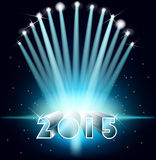Happy new year 2015.  Festive illuminat. Happy new year 2015. Background with floodlit. Festive illuminations Stock Photo